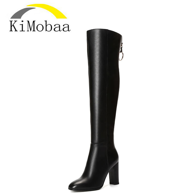 Kimobaa Women Boots Cowhide+PU Long Boots Over-the-knee Genuine Leather Boots Winter Shoes Fashion Russia Female Footwear TX177 ppnu woman winter nubuck genuine leather over the knee snow boots women fashion womens suede thigh high boots ladies shoes flats