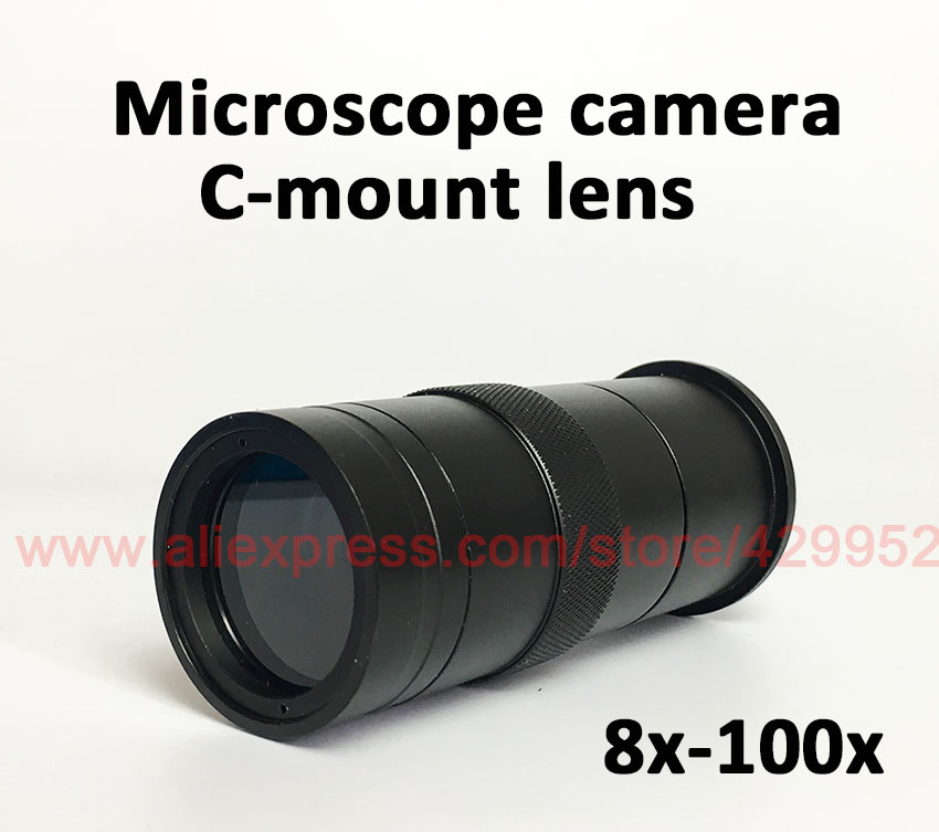 8x-100x CCD Industry Digital Microscope Camera C-Mount Glass Lens Magnification Adjustable 25mm Zoom Eyepiece hd ccd 800 lines c mount digital microscope eyepiece av bnc out put industrial camera with 100x zoom lens