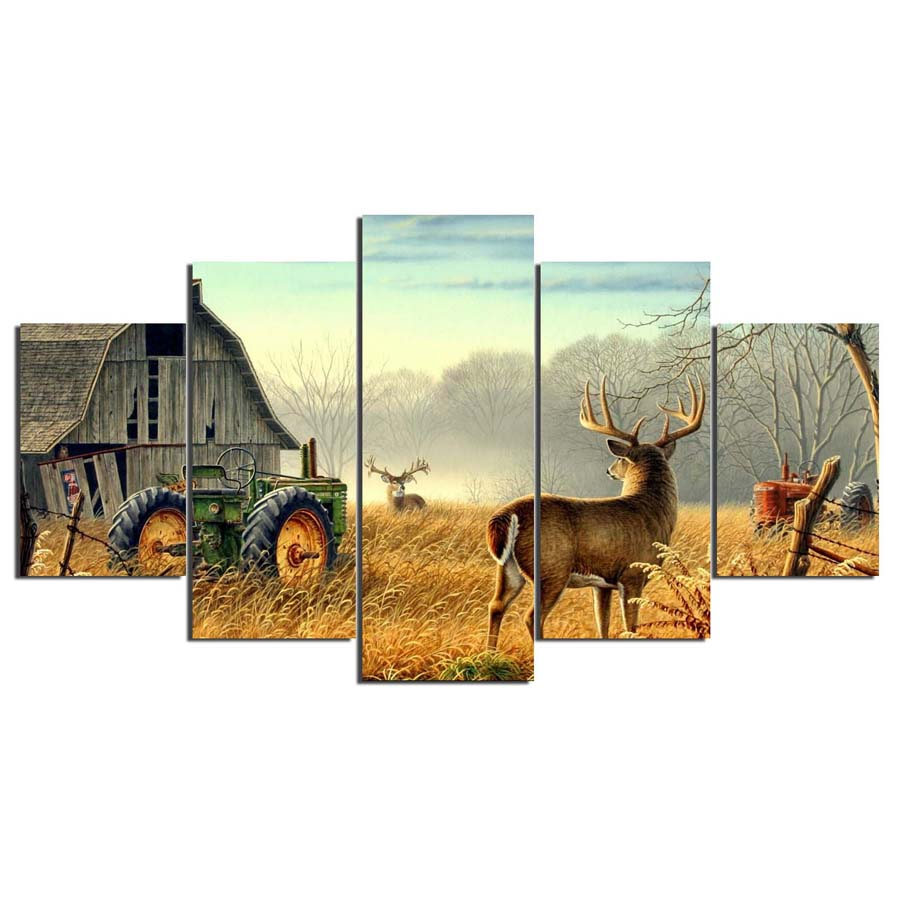 5 Piece Canvas Animal Whitetail Deers On Farm Wood House Tractor Canvas Picture Painting Decor Print Poster Wall Art Wd-1920 #3