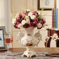 European Ceramic Vase Decoration Crafts Ornament FLOWER FLOWER living room Home Furnishing desktop simulation flower set