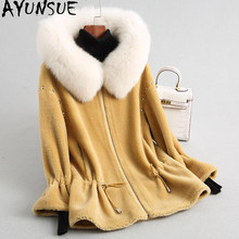 AYUNSUE 2019 Women Real Wool Jacket Sheep Shearing Coats Warm Winter Fur Coat Female Natural Fox Fur Collar Hooded 18170 WYQ2014(China)