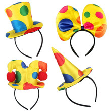 Colorful Clown Hat Headband For Adults Head Hoop Dance Party Halloween Costume Supplies