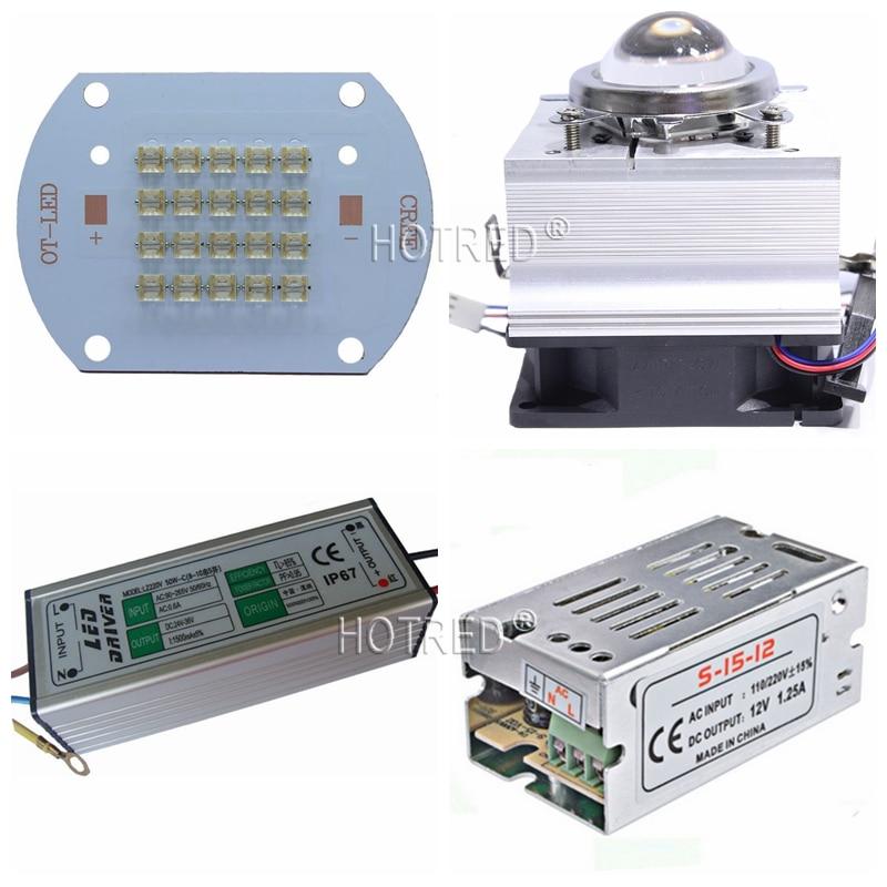 30 W 50 W COB 365nm 385nm 395nm 410nm système de polymérisation UV Ultra Violet haute puissance COB LED + pilote + dissipateur thermique + refroidisseur + réflecteur de lentille