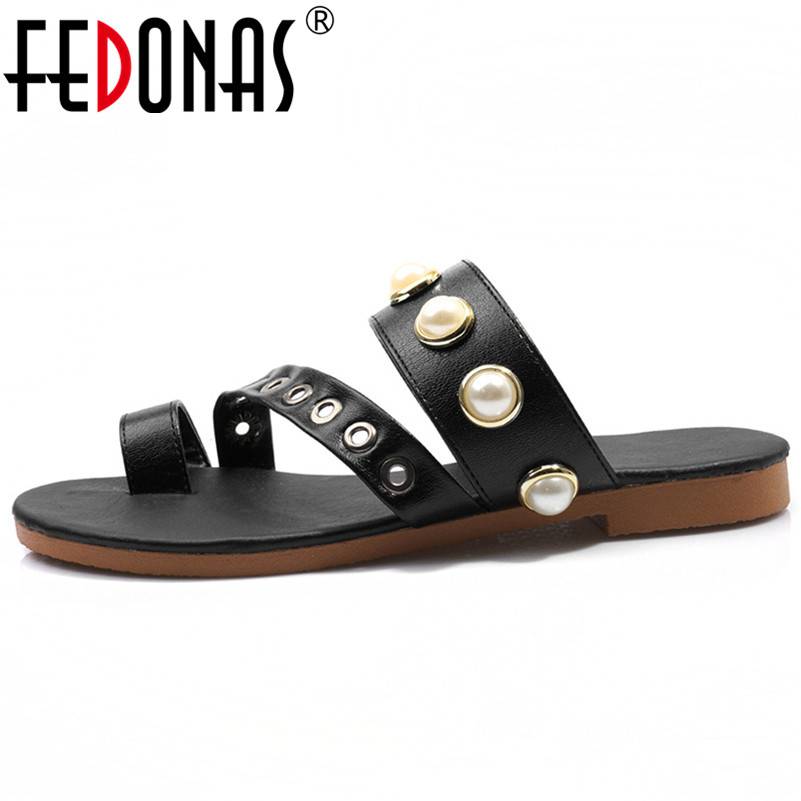 FEDONAS New Rome Round Toe Shallow Slip On Pearl Women Sandals 2020 Summer Fashion Pu Leather Low Heels Party Casual Shoes Woman