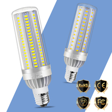 LED Bulb Fan Cooling E27 Corn Lamp High Power 25W 35W 50W E26 Light No Flicker 220V Chandeliers Lighting SMD 5730