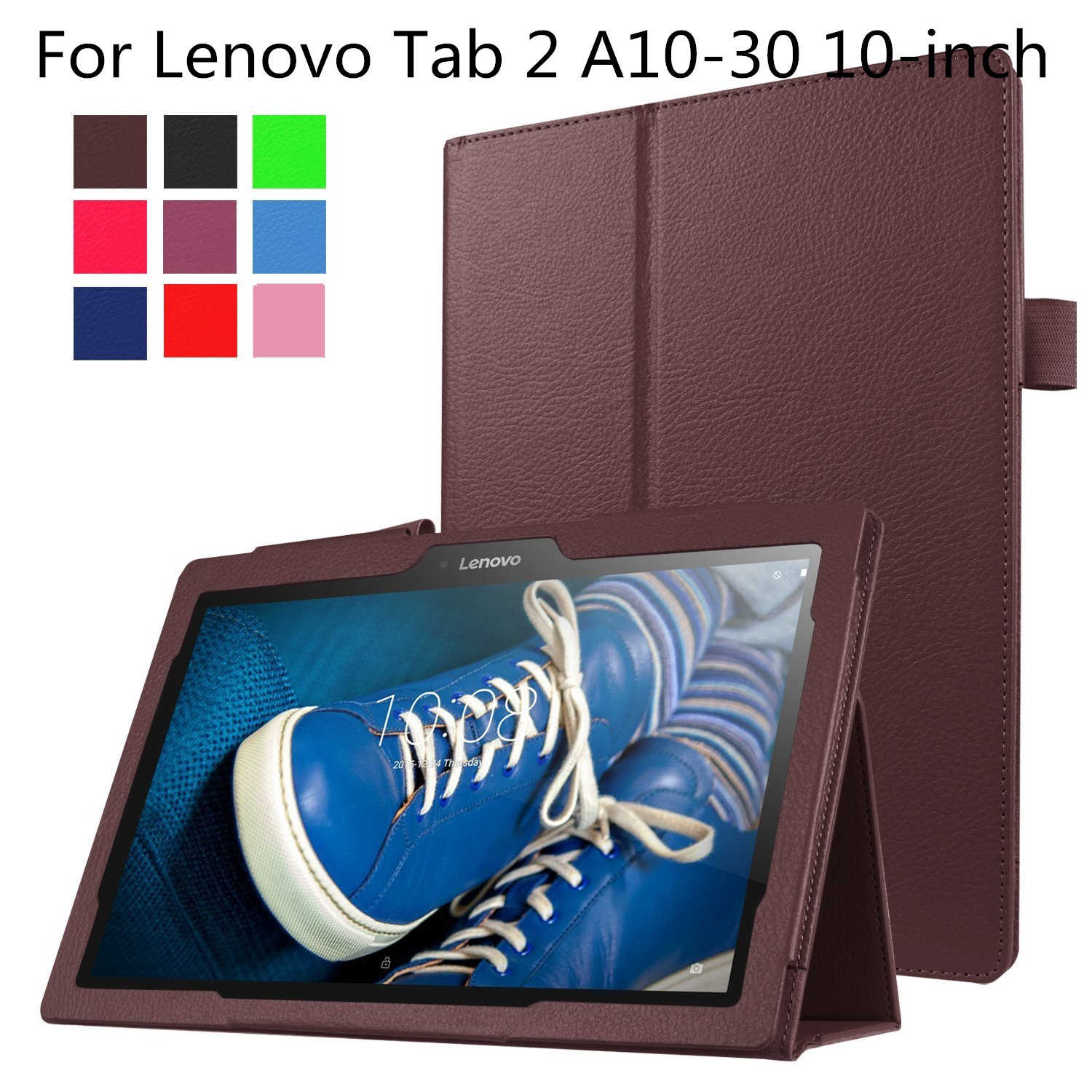 For Lenovo Tab 2 A10-30 10-Inch,PU Leather Slim Fit Premium Vegan Leather Cover Case for Lenovo Tab 2 A10-30 10inch Tablet tab2 a10 30 lichee pattern pu leather case for lenovo tab 2 x30 x30f x30m a10 30 flip tablet cover protector stylus