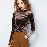 Winter New Velvet Round Neck T Shirt Women Warm Red Long Sleeve Velvet Tops Fashion Slim