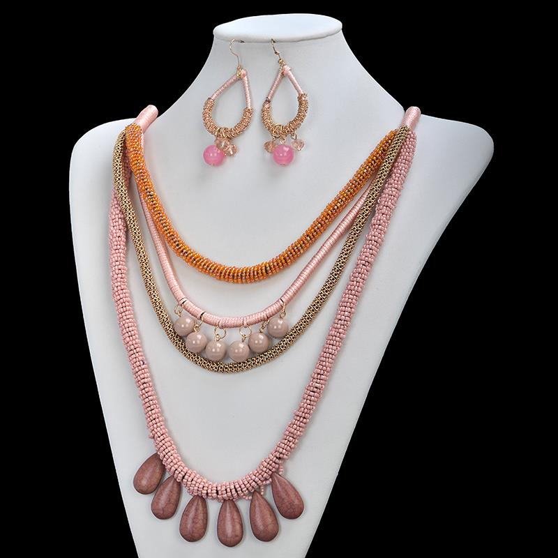 2015 Newest Fashion Vintage Bohemian Multilayer Turquoise Statement Necklace font b Earrings b font Set P8