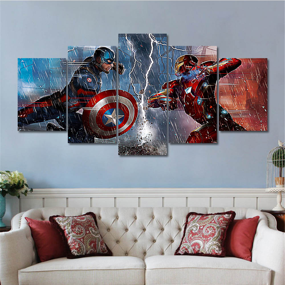 Wholesale Dropshipping 5 Pieces Wall Art Canvas Prints Oil Painting For Living Room Bedroom
