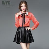2017 Autumn Fashion Original Design Long Sleeve Blouses Black Bow Tie Lace Off White Orange Women