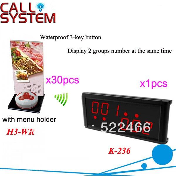 Беспроводной Служба Вызов Системы К-236 + H3-WR + Н с кнопкой 3-ключа и светодиодный дисплей для ресторана оборудование DHL бесплатно доставка