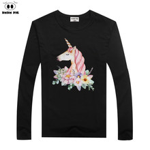 DMDM PIG Horse TShirt Kids Clothes Boys T-Shirts Unicorn Toddler Long Sleeve T Shirts For Girls Baby Tops Tees Size 6 7 8 Years(China)