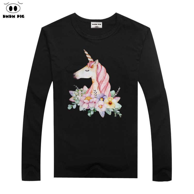 DMDM חזיר סוס חולצת טי ילדים בגדי בני חולצות Unicorn פעוט ארוך שרוול T חולצות בנות תינוק חולצות Tees גודל 6 7 8 שנים