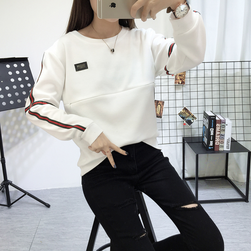 Korean version of the spring maternity dress breast-feeding outskirts thin was thin sweater T shirt 9184 spring 2018 new maternity striped print puppy t shirt dress