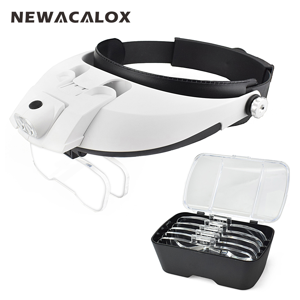 NEWACALOX 2 LED Headband Illuminating Magnifier with 5pcs Lenses Adjustable Loupe Portable Detachable Magnifying Glass free shipping x3 x6 card led magnifier with led light leather case magnifying glass ultra thin portable square loupe