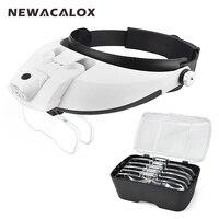 NEWACALOX 2 LED Headband Illuminating Magnifier with 5pcs Lenses Adjustable Loupe Portable Detachable Magnifying Glass