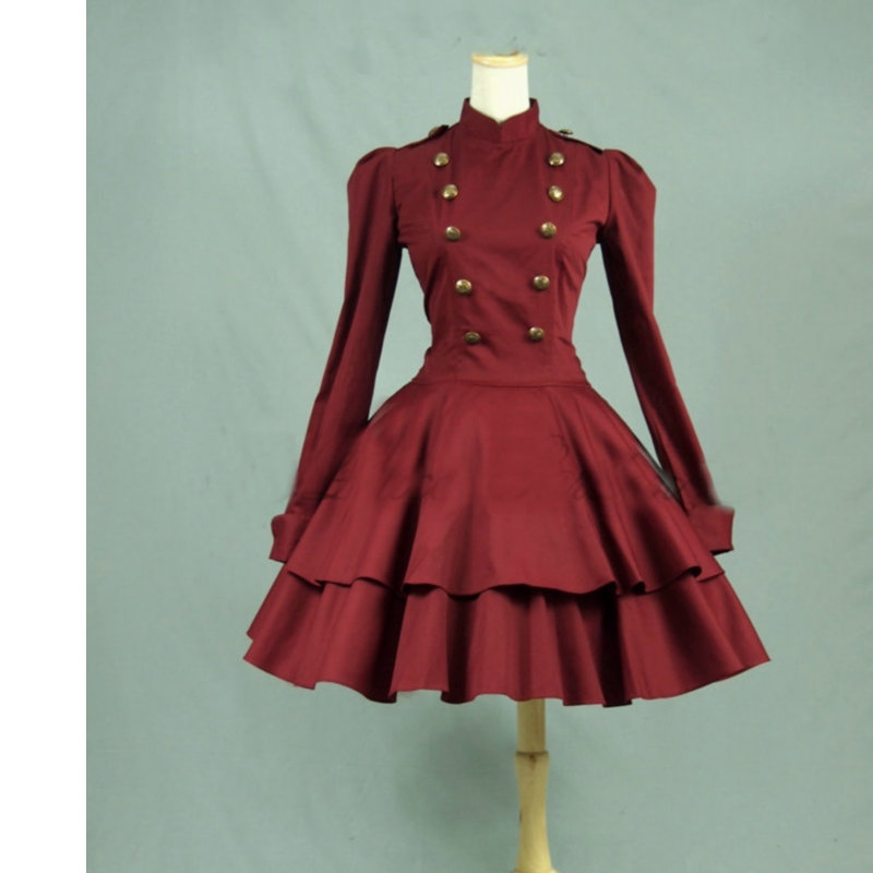 Gothique Lolita robe jupe courte robe Cosplay victorienne robe manches longues femme de chambre uniforme V-922