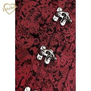 Image 4 - Steampunk gorset i obcisły top bez ramiączek czerwony brokat Sexy bez rękawów kamizelka gorset gotycki talia gorsety stalowe bez kości ubrania cosplay