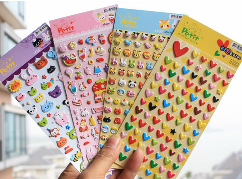 Cartoon Animal Bubble Sticker Toys Lovely Waterproof Adhesive Sticker DIY Decorate Diary Notebook Laptop Toys For Children Gifts