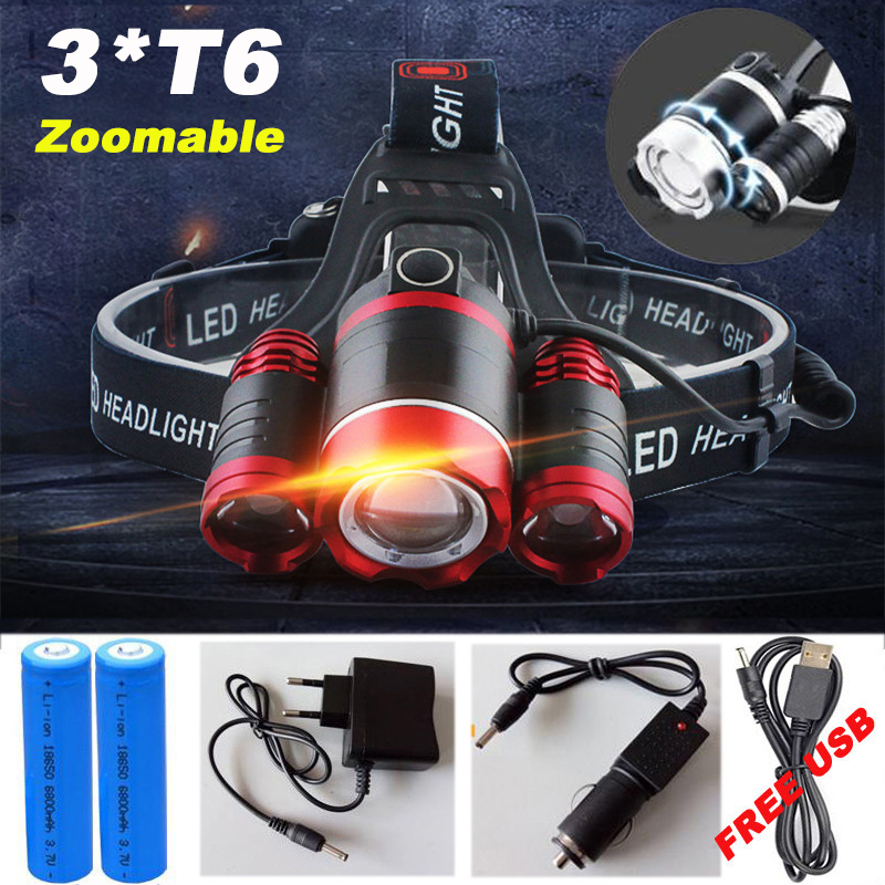 20000 Lumens Headlight LED CREE XML 3*T6 Zoom Headlamp Flashlight Torch Head Light Lamp+2*18650 Battery+AC/Car/USB Charger