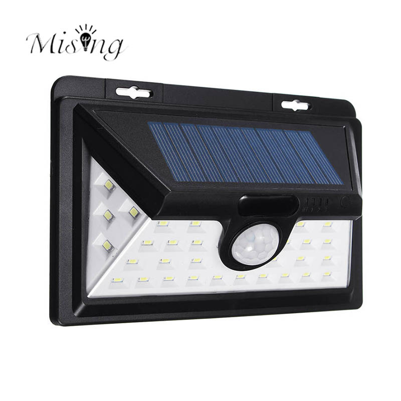 Mising 34 LED Solar Power Light Motion Sensor Outdoor Security Lamp for Home Garden Waterproof Solar Energy Decoration Lights