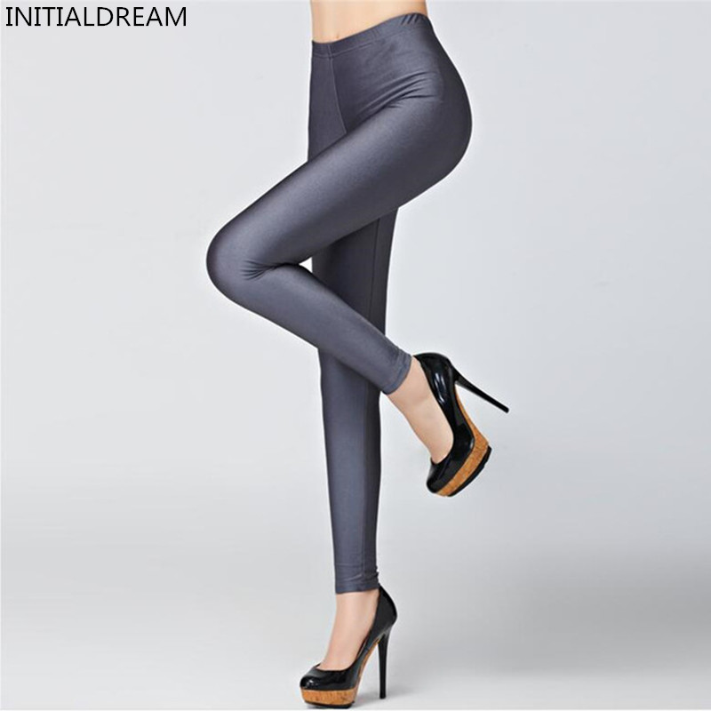 Hot Selling 2018 Plus Size Fluorescent Color Women Leggings Elastic Leggings Multicolor Shiny Glossy Leggings Trousers Women