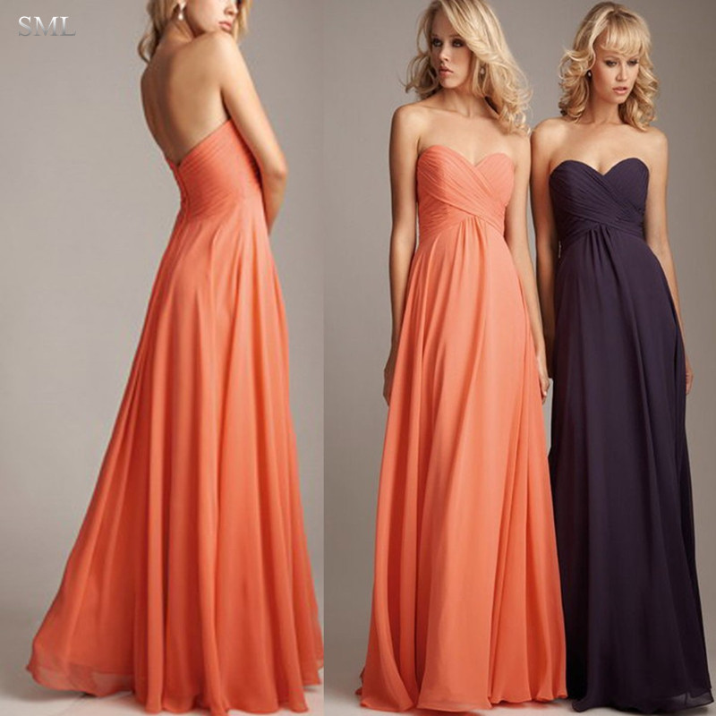 sml plus size coral colored bridesmaid dresses long chiffon wedding guest dresses purple green blue cheap