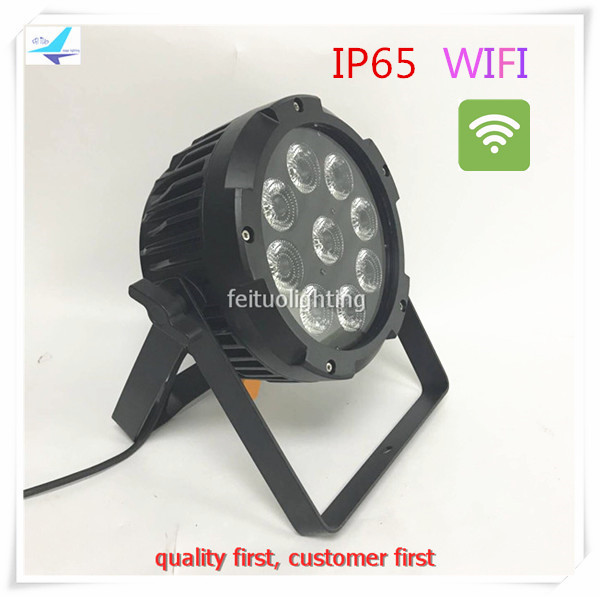 New 6pcs/lot IP65 Battery Power Wireless LED Par Light 9x15w 2.4G WIFI App Lyre Par Wash ...