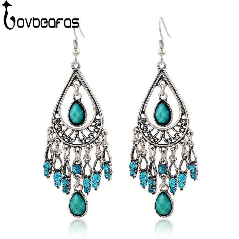 LOVBEAFAS Fashion Bohemian Crystal Drop Earrings For Women Fine Jewelry Vintage Ethnic Gypsy Boho Statement Earrings