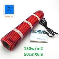 3m2 150 واط/m2 سجادة تدفئة أرضية كهربائية 50 سنتيمتر X 6 متر 220 فولت الأشعة تحت الحمراء فيلم دافئ للحمام الطابق مع ترموستات