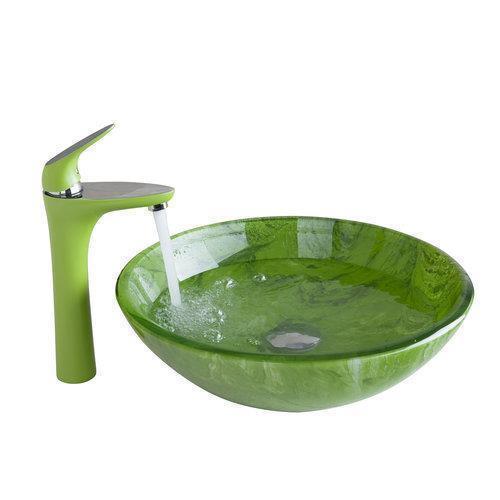 € 122.97 41% de réduction|Shiver vert salle de bain évier lavabo en verre  peint à la main + bassin en laiton robinet 416897081 salle de bain ...