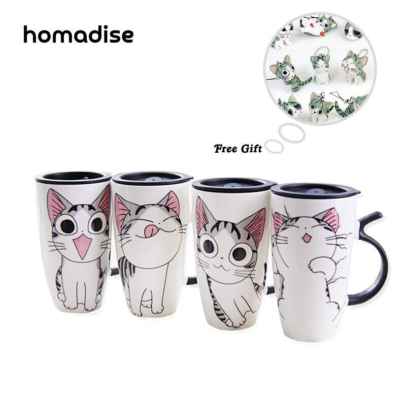 1pc Homadise Ceramic Cartoon Coffee Milk Mug Cup Cute Cat Mugs Christmas Best Gift chis sweet Creative Cup Mug with Lid