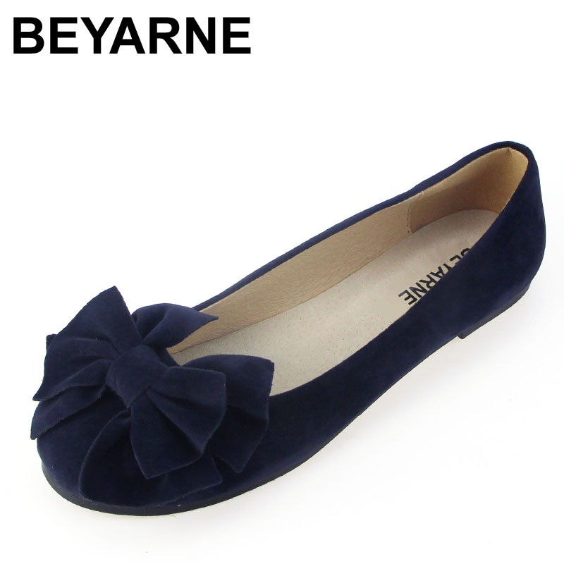BEYARNE spring summer bow women single shoes flat heel soft bottom ballet work flats shoes woman moccasins size 35-43 free ship(China)