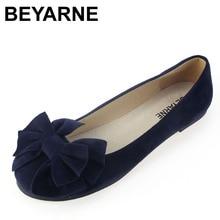 BEYARNE spring summer bow women single shoes flat heel soft bottom ballet work flats shoes woman moccasins size 35 43 free ship