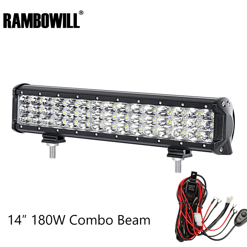 Rambowill 14  Led Work Light Cree Chips 180W 3-Row 6D Led Light Bar Combo Beam Driving Lamp ATV SUV 4X4 Offroad  DC 12V 24V