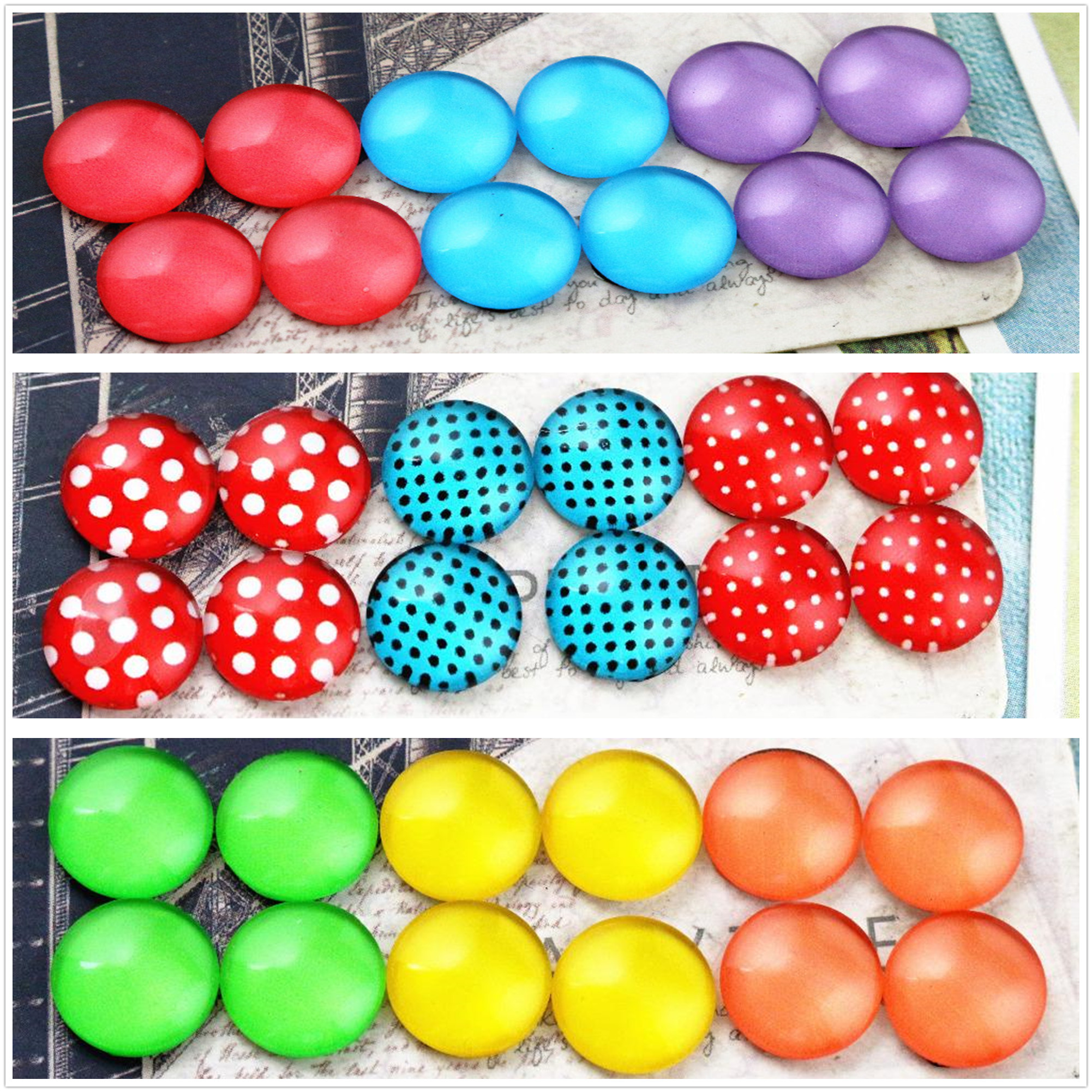 12pcs/lot (One Set) Three Style 12mm Color Wave Point Handmade Glass Cabochons Pattern Domed Jewelry Accessories Supplies