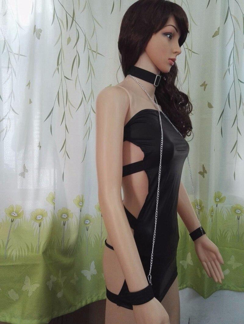 Sexy PVC Leather lingerie Latex Dress Black Shiny PVC Halter Sleeveless Catsuit Erotic Bondage Pleated Dress Clubwear Costume 5