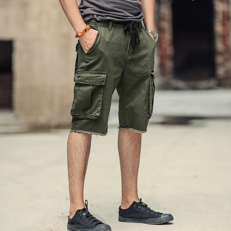 New Casual short Pants Men's Multi Pocket Tactical cargo shorts military Jeans Short Trousers brand clothing K716-in Casual Shorts from Men's Clothing