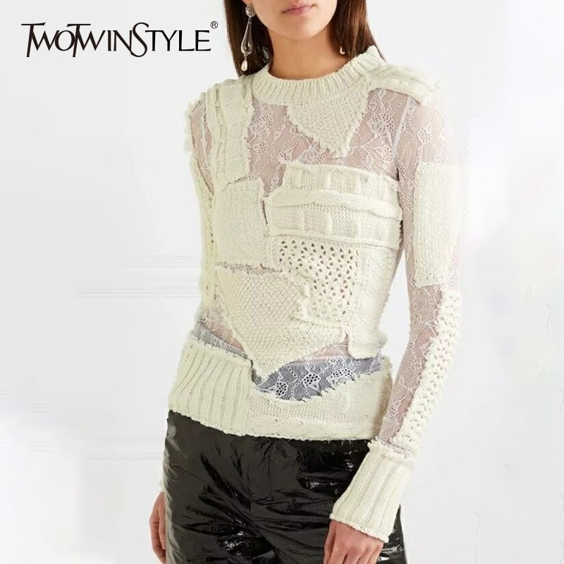 TWOTWINSTYLE Hollow Out Knitting Women's Sweater Long Sleeve Patchwork Lace White Pullovers Female Autumn Fashion Tide 2020