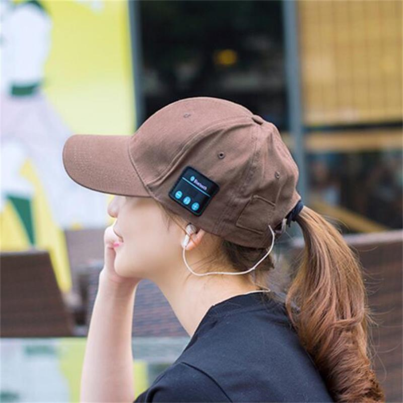 2018 Summer Wireless Bluetooth V4.0 Headphone Headset Music Sport Cap Smart Baseball Hat with Hands-free Mic Earphone Sun Hat wireless bluetooth headphones music hat smart caps headset earphone warm beanies winter hat with speaker mic for sports