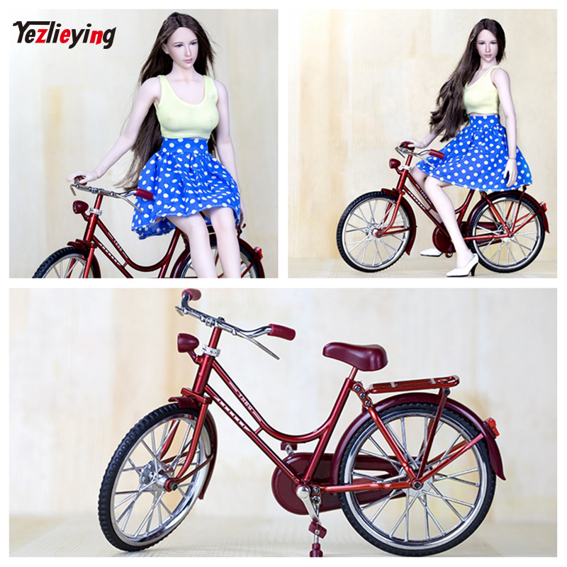 Mini 1/6 Scale Scene Accessories Red A Bike/Bicycle Model Wheel Movable For 12