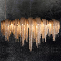 Atlantis fluxo luminária nova italiano Terzani cadeia de borla pingente de luz de comprimento forma ouro prata de alumínio luz sala de estar