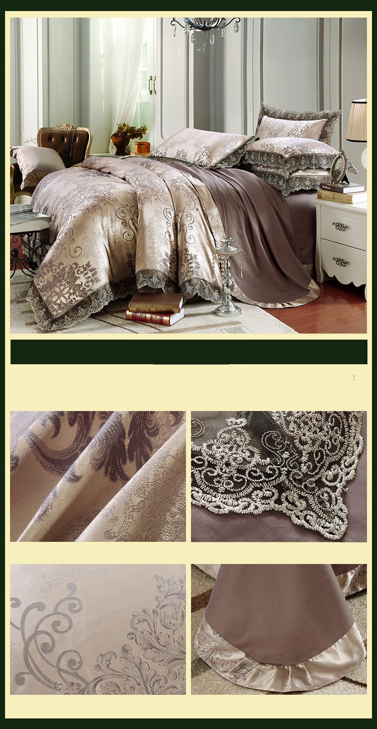 New Luxury Embroidery Tinsel Satin Silk Jacquard Bedding Set, Queen, King Size, 4pcs/6pcs 29