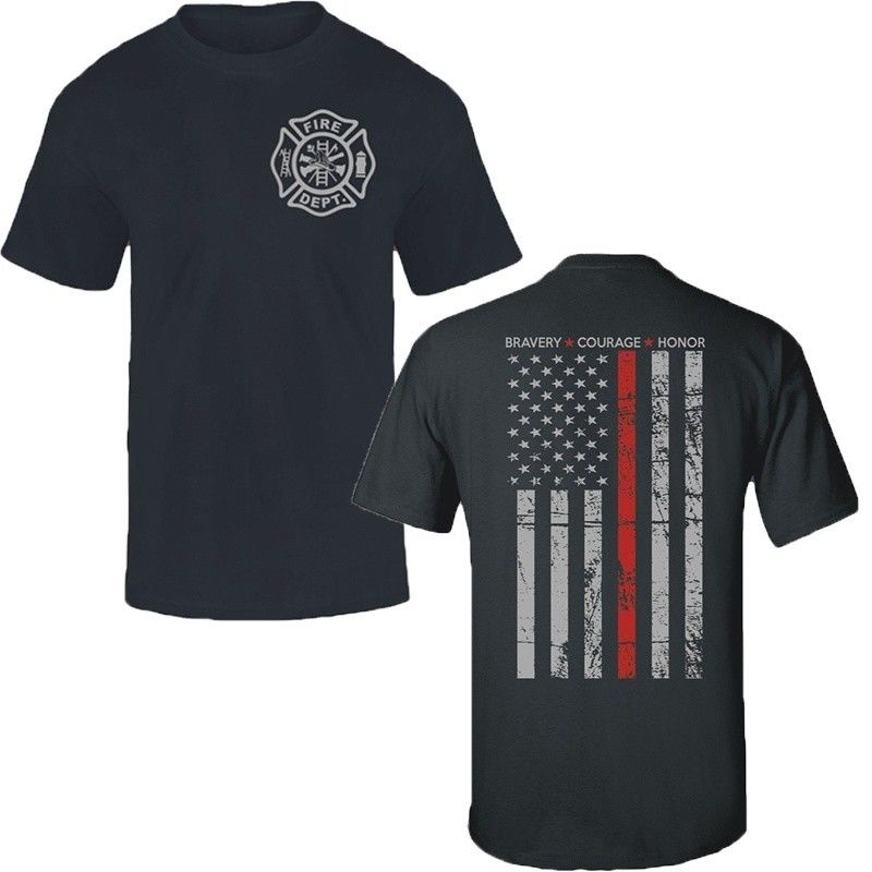 Thin Red Line Flag Firefighter Fire Department T Shirt Men Fire Fighter USA Hero Printing Casual T-Shirt MenS Tees