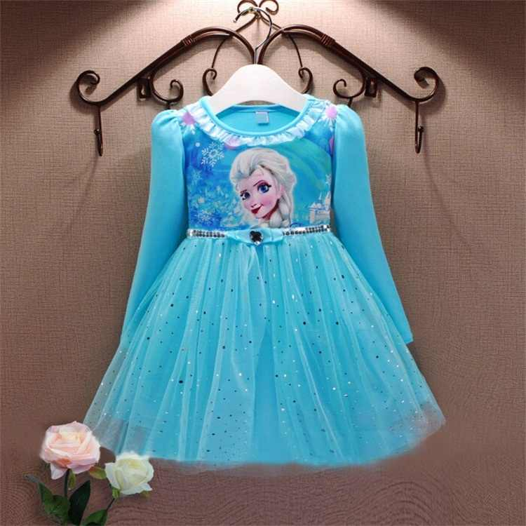 2015 Elsa Dress Cosplay Party Girl Dresses Snow Queen Princess Anna Girls Clothes Kids Costume Fantasia Infantis Vestido Menina