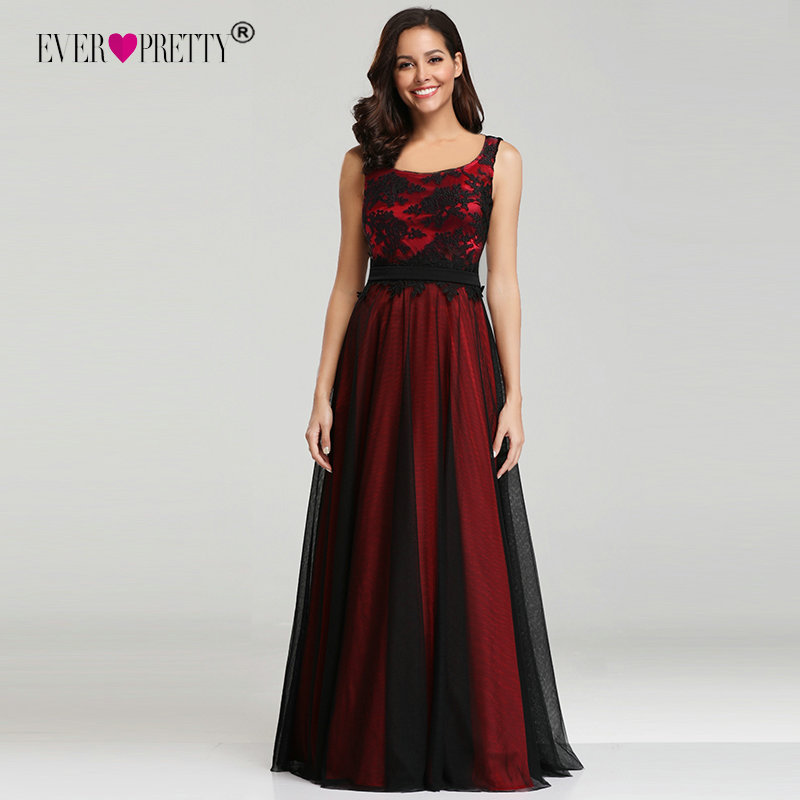Ever Pretty Red Black Long   Prom     Dresses   Square Neck Tulle Appliques Lace Party Gowns New Arrival Elegant Women Gala Jurken 2018