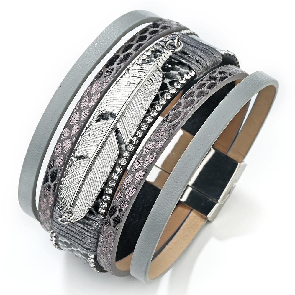 17 Fashion Alloy Feather Leaf Wide Magnetic Leather Bracelets & Bangles Multilayer Wrap Bracelets for Women Men Jewelry 18