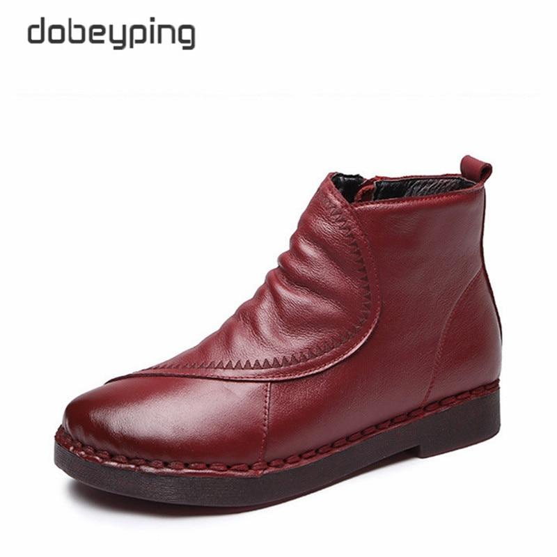 b2c0fdbd3e Cuero Zapatos De Mujeres Nieve Black Láser Mujer Femenino Felpa Mocasín  Diseño Calzado winered Real Botas Invierno ...