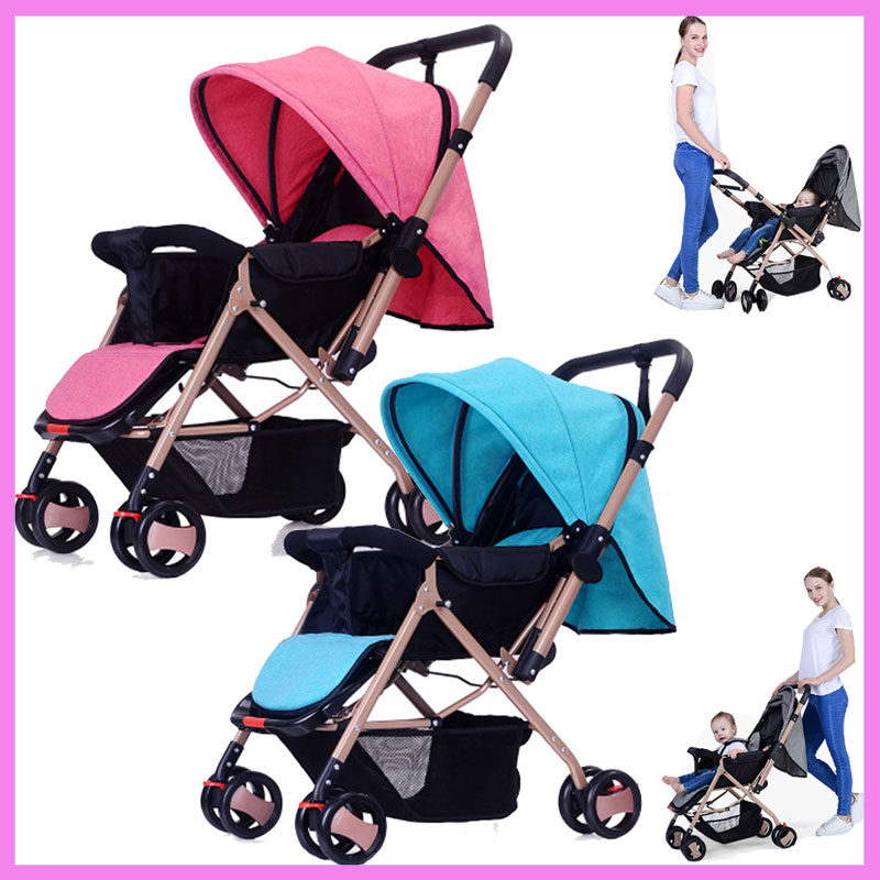 Four Wheels Stroller Reverse Handle Baby Carriage Umbrella Car Shock Absorber Flat Lying Portable Folding Baby Pram Pushchair