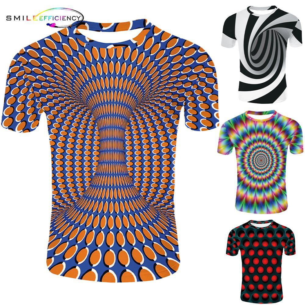 2019 novo padrão psychedelic 3d t camisa curto sleeveprinting o pescoço camisetas personalidade das mulheres dos homens unisex verão topos